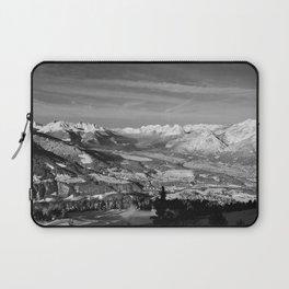 Innsbruck In Winter From Patscherkofel Mountain black white Laptop Sleeve