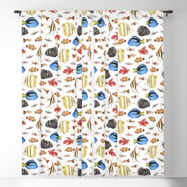 Tropical Fish on White - pattern Blackout Curtain