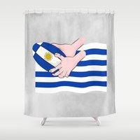 rugby Shower Curtains featuring Uruguay Rugby Flag by mailboxdisco