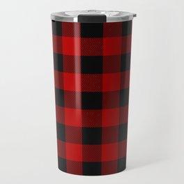 Red and black squares plaid print Travel Mug