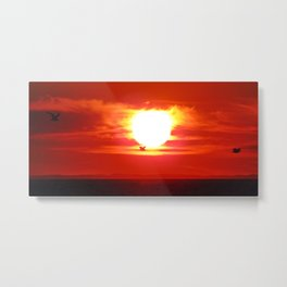 Heart Shaped Sunset Metal Print