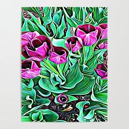 Nurturing Flowers in Pink Poster