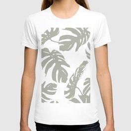 Simply Retro Gray Palm Leaves on White T-shirt