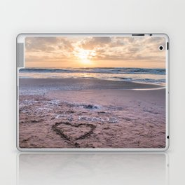 Love note Te Amo with the heart drawing on the beach at sunrise Laptop & iPad Skin