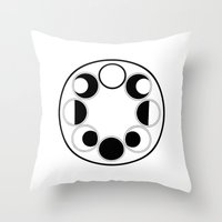 moon phase Throw Pillows featuring Moon Phase Circle by Mind Over Matter