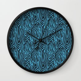 Black and blue abstract pattern. Zebra . Wall Clock