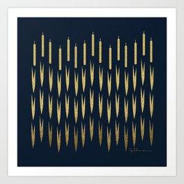 Navy Cattail Art Print