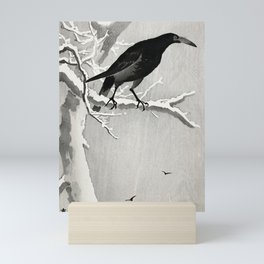 Koson Ohara - Crow on a snowy Branch - Japanese Vintage Ukiyo-e Woodblock Painting Mini Art Print