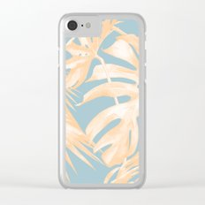 Tropical Leaves Citrus on Ocean Blue Clear iPhone Case