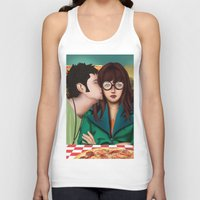daria Tank Tops featuring Daria with Pizza and Friends by Artik