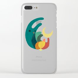 Rabbit and crescent moon Clear iPhone Case
