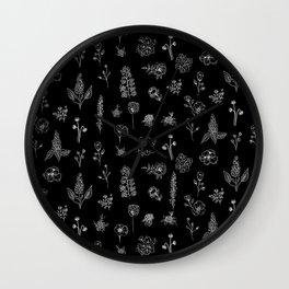 Black Wildflowers S Wall Clock