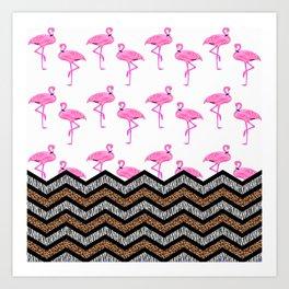 Animal Skin Print Chevron Pattern with Flamingos Art Print