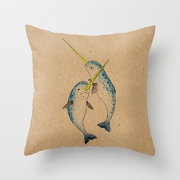Winter Narwhals Throw Pillow