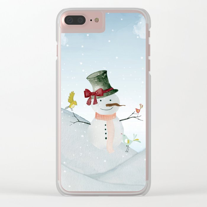 Winter Wonderland- Snowman and birds - Watercolor illustration Clear iPhone Case