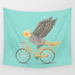 Cockatiel on a Bicycle Wall Tapestry
