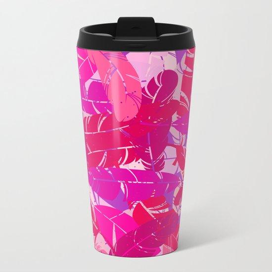 Pink feathers Metal Travel Mug
