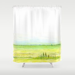 Green meadow Shower Curtain