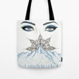 Winter Eyes Mountain Range Mandala Tote Bag