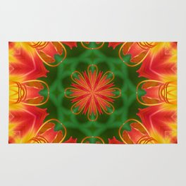 Ruby Red Spider Lily Kaleidoscope Rug
