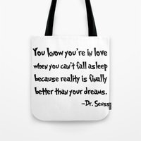 dr seuss Tote Bags featuring -Dr. Seuss. by S J A E