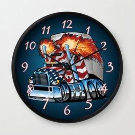 Patriotic American Flag Semi Truck Tractor Trailer Big Rig Cartoon Wall Clock