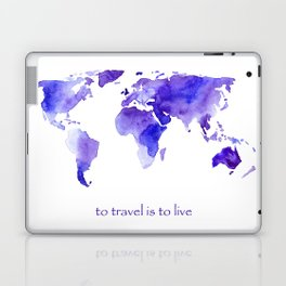 to travel is to live || watercolor map Laptop & iPad Skin