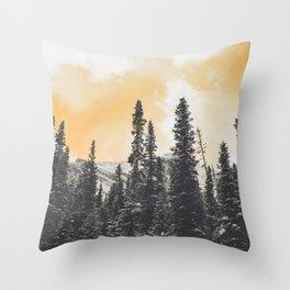 Orange Skys Above the Pines Throw Pillow