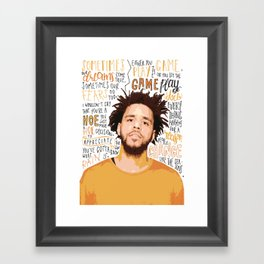 J Cole quote print / poster hand drawn type / typography Framed Art Print