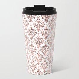 Elegant faux rose gold vintage floral damask Travel Mug