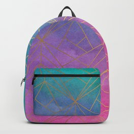 Watercolor Geometric Gold Pattern Art Backpack