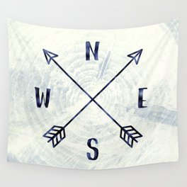 Compass in Navy Blue Wall Tapestry