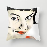 amelie Throw Pillows featuring Amelie by Bubble Trump Ltd