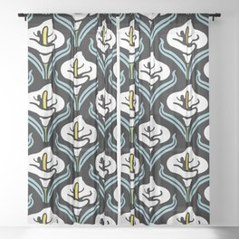 Calla Lily Pattern Sheer Curtain