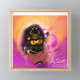 Black Female Warrior Empress Cloaked with Black and Gold Armor Framed Mini Art Print