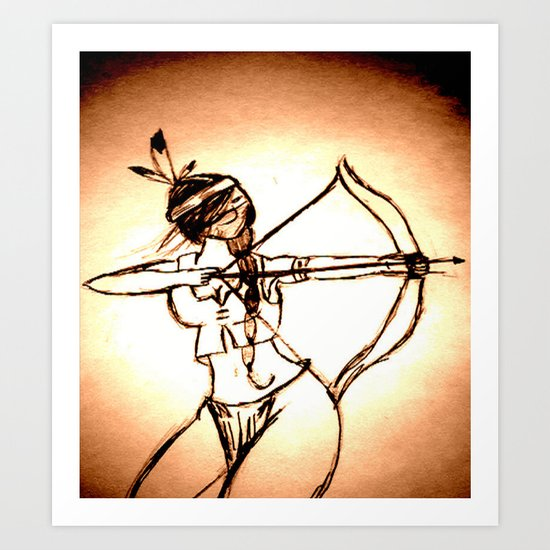 """Women with no faces--series """"Native American"""" Art Print"""