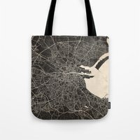 dublin Tote Bags featuring dublin map by Les petites illustrations