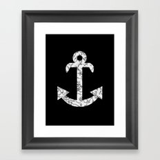 Marble Anchor in Black Framed Art Print