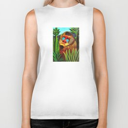 Henri Rousseau Mandrill In The Jungle Biker Tank