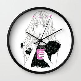 Pink drink - manga girl drawing, cute girl portrait Wall Clock