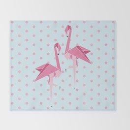 Origami Flamingo Throw Blanket