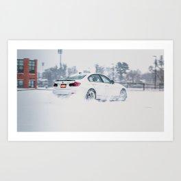 White Sports Car Drifting in the Snow Art Print