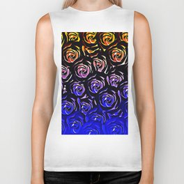 rose pattern texture abstract background in blue and red Biker Tank