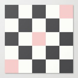 Checkerboard (Rose Quartz, Charcoal Black) Canvas Print
