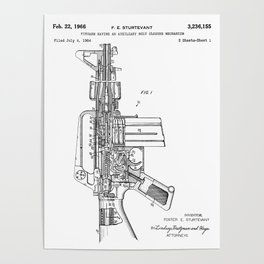 M16 Rifle Patent - Military Rifle Art - Black And White Poster