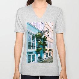 Digital Illustration of Plants and Light Mounted onto a Colourful Danish House in Nyhavn, Copenhagen Unisex V-Neck