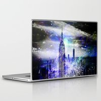 new york skyline Laptop & iPad Skins featuring New York Skyline by haroulita