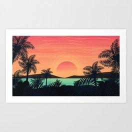 Tropical Beach Dawn illustration Art Print
