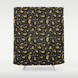 Leopard Metal Glamour Skin on gray Shower Curtain