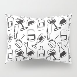 Wine Lovers Illustrated Wine Glasses and Wine Bottles Pillow Sham